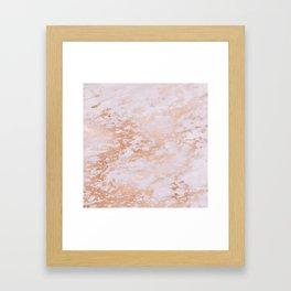 Pastel Lavender Marble Rosegold Glitter Pink Framed Art Print