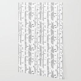 Gray Birches Wallpaper