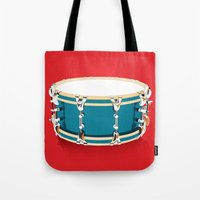 drum Tote Bags featuring Drum - Red by Ornaart