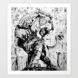 "Carmine the Lion ""Silver Version"" Art Print"