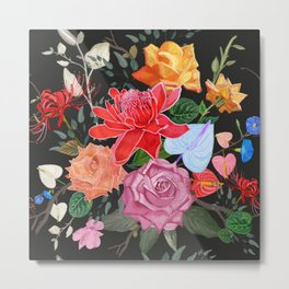 Tropical flowers and roses artistic flower bouquet pattern black Metal Print