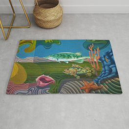 Mariana Trench Sea Bottom landscape with fish, seashells, and starfish by Hilaire Hiler Rug