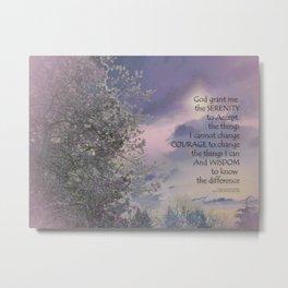 Serenity Prayer Tree Sky Glow Metal Print