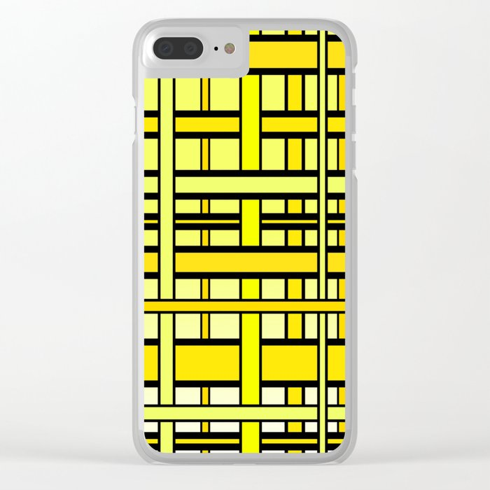 Yellow grid Clear iPhone Case
