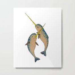 Winter Narwhals Metal Print