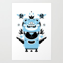 Blue and black totem fun Art Print