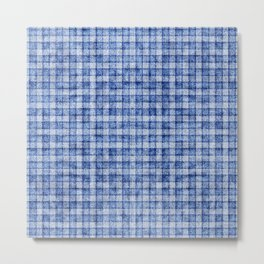 Blue Gingham Velvety Faux Terry Toweling Metal Print