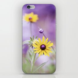 Purple Yellow Flower Photography, Violet Floral Green Nature iPhone Skin