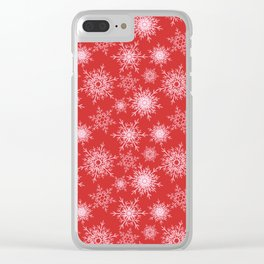 Christmas pattern with snowflakes on red. Clear iPhone Case