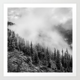 Fog in the Mountains | Black and White Photography | Landscape | black-and-white | bw Art Print