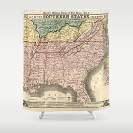 Map of the Southern States during the Civil War (1863) Shower Curtain