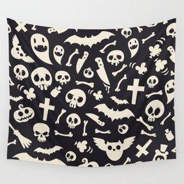 Halloween Symbols Pattern Contrast Wall Tapestry