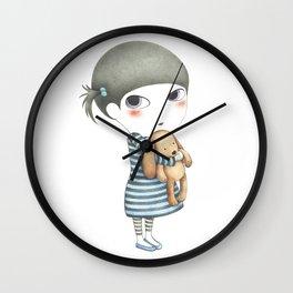 The girl and a teddy bear Wall Clock