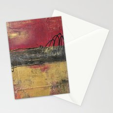 Metallic Square Series I - Red and Gold Urban Abstract Painting Stationery Cards