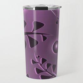 Pattern gently pink plant elements light purple luminous ethnic style. Travel Mug