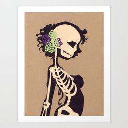 Skeleton with flowers Art Print