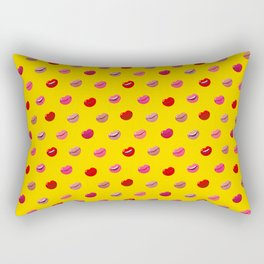 Red, pink and nude lips on yellow background pattern Rectangular Pillow