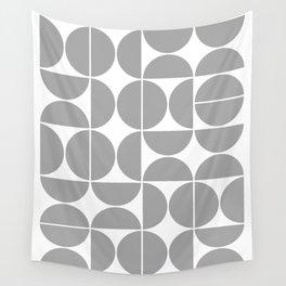 Mid Century Modern Geometric 04 Grey Wall Tapestry