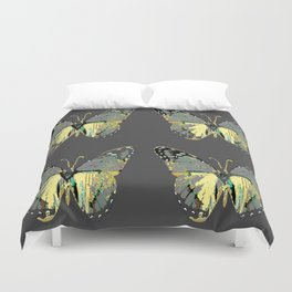CHARCOAL GREY WESTERN STYLE BUTTERFLIES Duvet Cover