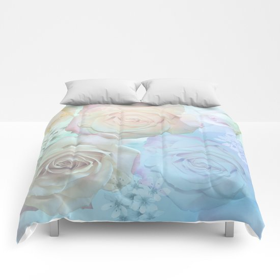 Romantic roses and tiny flowers in pastels Comforters