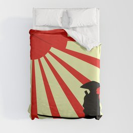 Japanese Art Sun Samurai Warrior Bushido Martial Arts Duvet Cover