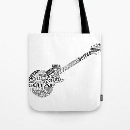 Guitar In Text Tote Bag