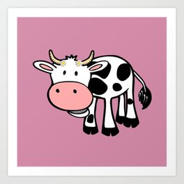 Smiling Cow with Daisies Art Print