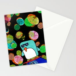 space surfing penguin Stationery Cards
