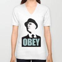 fringe V-neck T-shirts featuring OBEY (Fringe) by Matheus Lopes