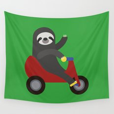 Sloth on Tricycle Wall Tapestry