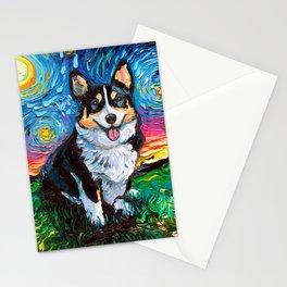 Tri-Color Corgi Night Stationery Cards