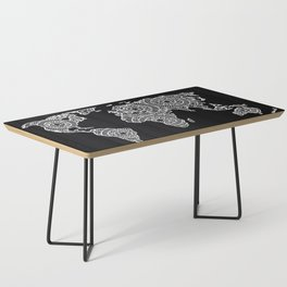 White on Black World Map Coffee Table