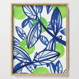 Blue and lime green abstract apple tree Serving Tray