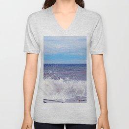 Wave Crashing onto the Beach Unisex V-Neck