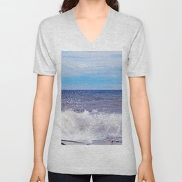 Wave Crashing onto the Beach Unisex V-Neck
