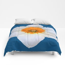 DECORATIVE ORANGE CENTERED WHITE DAFFODIL TEAL ART Comforters