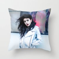 charli xcx Throw Pillows featuring Charli XCX by behindthenoise