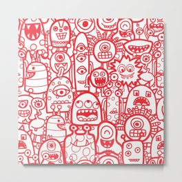 Cute Aliens and Monsters Red White Pattern Metal Print