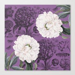 White Peony Purple Collage Canvas Print
