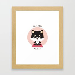 Yoga Shiba Inu Dog Framed Art Print