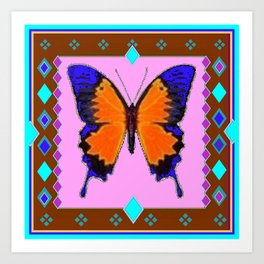 Shimmering Blue & Orange Swallowtail Western Style Art Print