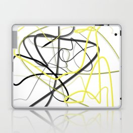 Yellow Black Strokes by LH Laptop & iPad Skin