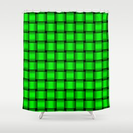 Neon Green Weave Shower Curtain