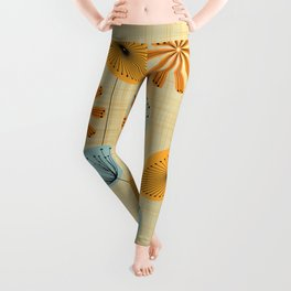 Retro Floral Pattern Yellow Leggings