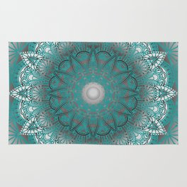 Turquoise Flower Mandala Rug