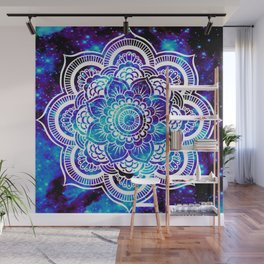 Mandala : Bright Violet & Teal Galaxy Wall Mural