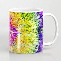 tie dye Mugs featuring Textured Retro Tie Dye by Phil Perkins