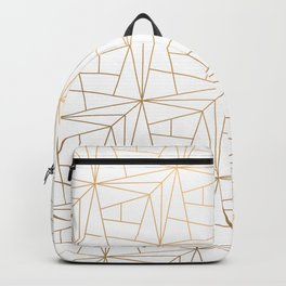 Geometric Gold Pattern With Gold Shimmer On White Backpack