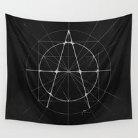 anarchy Wall Tapestries featuring XXIst Century Anarchy Monochrome by Lovedart