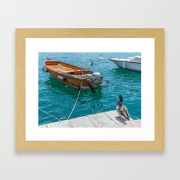Duck and boat Framed Art Print